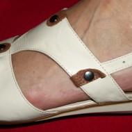 Sandale cu toc jos,bej-maro, piele naturala