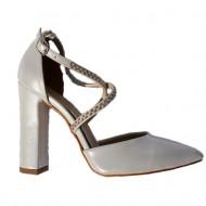 Sandale rafinate, nuanta de alb sidef cu strasurii fine