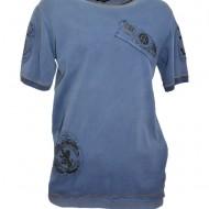 Tricou barbatesc bleumarin, model casual, cu design simplist