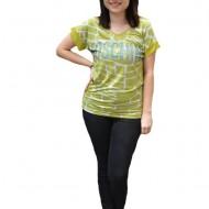Tricou casual Thea,cu imprimeu fashion,nuanta de galben