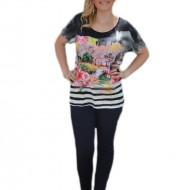 Tricou de primavara-vara, negru cu imprimeu modern in fata