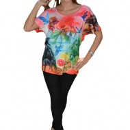 Tricou lejer de vara cu imprimeu multicolor pe fond corai
