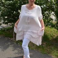 Bluza casual ,asimetrica, cu design de buzunare roz
