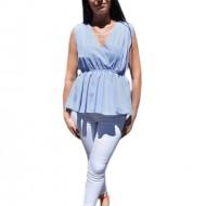Bluza casual, cu dungi fine bleumarin-alb