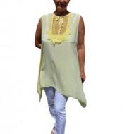 Bluza casual,de vara fara maneca ,nuanta de galben