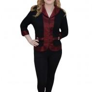 Bluza casual, maneca trei-sferturi, neagra cu design de dungi rosii