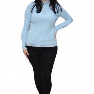 Bluza casual Roxana cu insertii argintii ,albastru deschis
