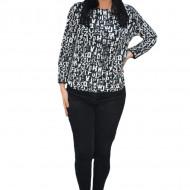Bluza casual Zara,imprimeu cu litere, nuanta de negru-alb