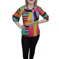 Bluza chic, nuanta de multicolor, design geometric fin