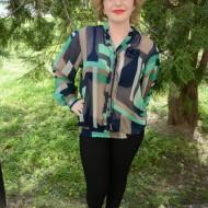 Bluza cu maneca lunga, guler rusesc, in nuante de bleumarin-turcoaz