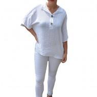 Bluza dama lejera Adeline accesorizata cu nasture ,nuanta de alb