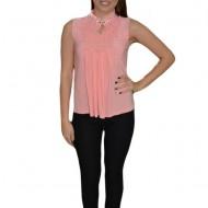 Bluza de ocazie cu volanase fashion in fata, culoare roz piersica