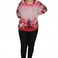 Bluza de ocazie din material tip voal ,rosu cu imprimeu floral