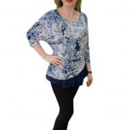 Bluza de zi, cu design modern, imprimeu floral in nuante de albastru