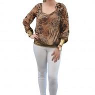 Bluza eleganta, cu design animal-print, combinatie de negru maro
