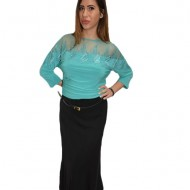 Bluza eleganta office ,model deosebit ,nuanta turcoaz