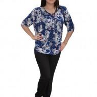 Bluza fashion cu design colorat pe fond bleumarin, croi lejer