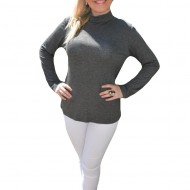 Bluza la moda, material elastic, nuanta de gri, maneca lunga