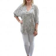 Bluza lejera de vara, masura mare, de culoare gri cu dantela