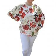 Bluza lejera Emilia cu motive rose si coacaze, nuanta de alb