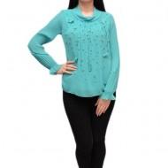 Bluza moderna cu maneca plisata si design de margele, turcoaz