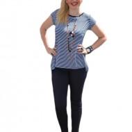 Bluza moderna, insertie de voal bleumarin in spate si dungi albe