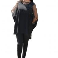 Bluza rafinata cu strasuri model cu voal detasabil,nuanta de NEGRU
