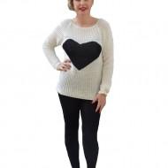 Bluza rafinata, de culoare alb-negru, cu imprimeu in forma de inima