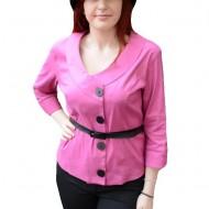 Bluza tip camasa, nuanta roz, cu curea in talie, masura mare