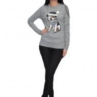 Bluza tricotata cu imprimeu doggy ,nuanta gri