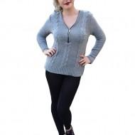 Bluza tricotata, de culoare gri, cu fermoar decorativ