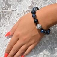 Bratara deosebita cu textura elastica,culoare bleumarin