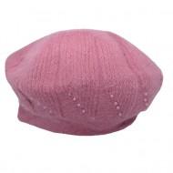 Caciula Ella fashion calduroasa cu insertii de strasuri ,nuanta de roz