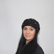 Caciula rafinata cu design de perle albe, nuanta de negru