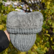 Caciula simpla de iarna, gri, captusita cu blanita calduroasa