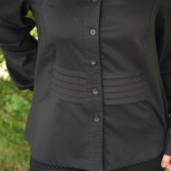 Camasa casual culoare neagra, cu pliuri in talie si maneca lunga