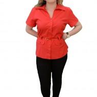 Camasa comoda cu curea si design de buzunare, nuanta rosie