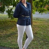 Camasa cu maneca lunga, bleumarin, din material matlasat
