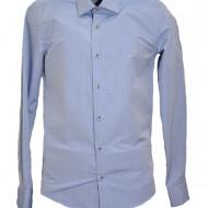 Camasa de barbati din bumbac, nuanta albastra cu buline mici