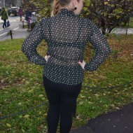 Camasa deosebita cu maneca lunga si guler tip sal, negru-verde
