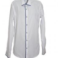 Camasa slim pentru barbati de culoare alba cu design albastru