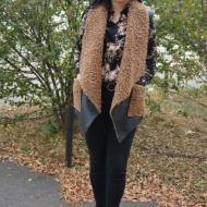 Cardigan tip vesta Olivia din piele,croi asimetric,nuanta de negru-maro