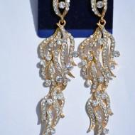 Cercei rafinatii, aurii sau argintii, cu cristale multicolore semipretioase