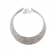 Colier elegant,aplicatii cu cristale ,nuanta de argintiu
