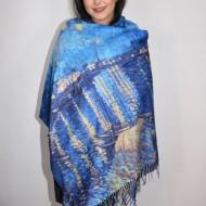 Esarfa Oana ,model painted rafinat,nuanta de bleumarin alb