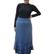 Fusta Ava lunga din tricot si insertii de dantela,nuanta de bleumarin