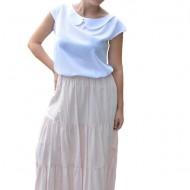 Fusta dama Denisse, model simplu, elastic in talie, nuanta de pudra