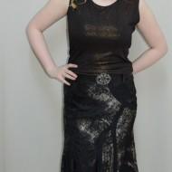 Fusta de primavara-toamna, culoare neagra cu auriu si argintiu