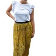 Fusta Eveline, plisata, cu imprimeu dramatic, nuanta de galben