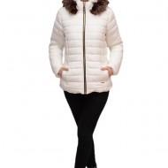 Jacheta calduroasa de toamna-iarna cu gluga detasabila,nuanta de alb